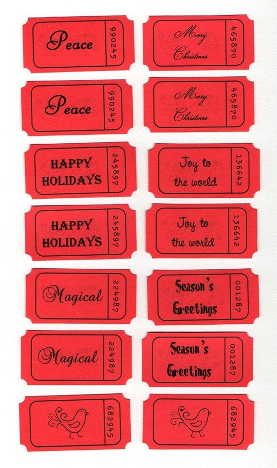 Christmas Holiday Word Title Tickets - Set of 14 Red Tickets