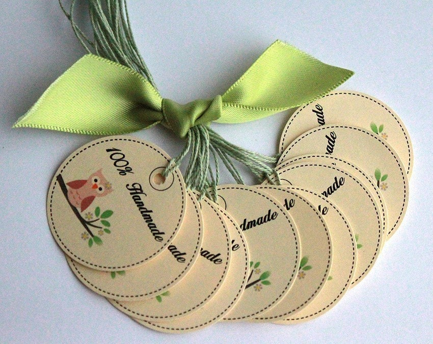 100 percent handmade owl craft tags set of 12 craft shows for Custom tags for crafts