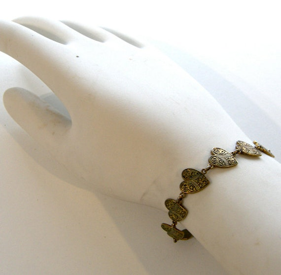 Vintage Heart Jewelry Antiqued Goldtone Bracelet
