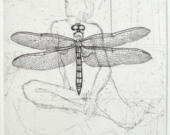 Figure and Dragonfly Original Etching