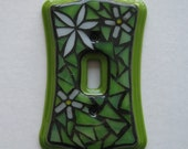 GLOW in the Dark Light Switch Cover Mosaic Flower Design