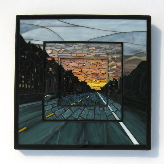 Journey -  Stained Glass and Mixed Media Mosaic Wall Art of Sunset