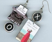 Persuasion book cover typewriter earrings - Jane Austen quote jewelry - literary readers librarian students gift - mismatched asymmetrical