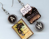 Book Cover Earrings - Alice in Wonderland Lewis Carroll quote - Typewriter jewelry - book lover readers literary librarian student gift