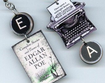 Book cover earrings - Poe Raven quote - typewriter key jewelry - reader's literary gift - book club