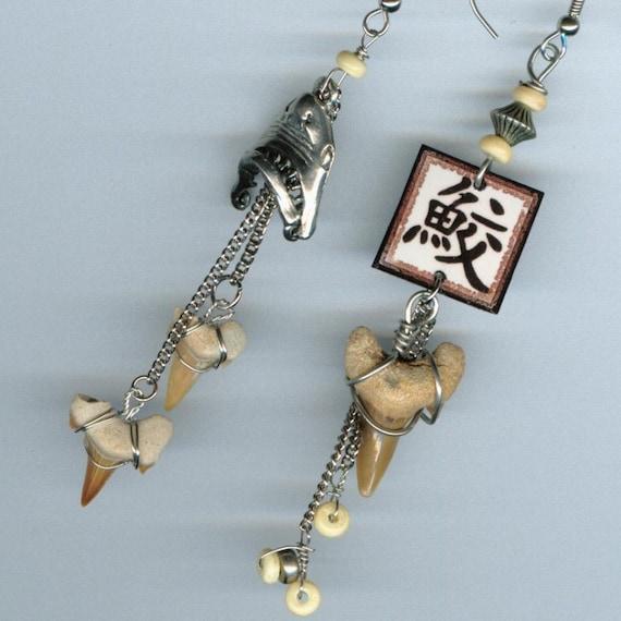 Shark Tooth Earrings Kanji ASYMMETRICAL surfer beach