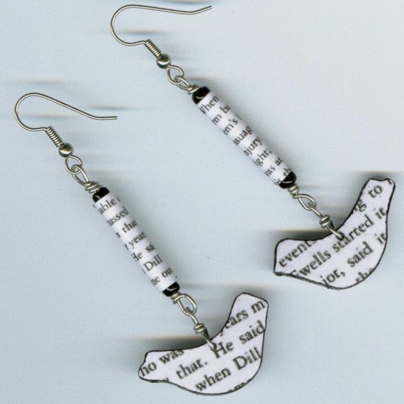 To Kill a Mockingbird earrings text paper beads
