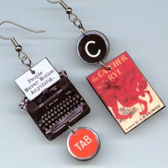 Book cover earrings - The Catcher in the Rye quote - banned challenged censored - Designs by Annette  - literary readers book club gift