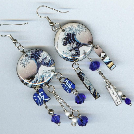 The Great Wave Earrings Asymmetrical Altered Art Japanese Hokusai