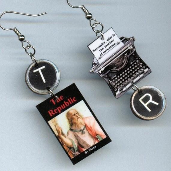 The Republic Earrings PLATO Vintage Typewriter Philosophy