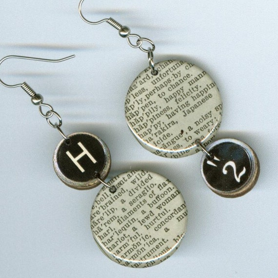 Dictionary Earrings Recycled Paper Vintage Webster pocket dictionary typewriter key H