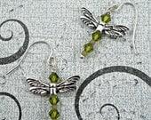 Olivine Swarovski Crystal Dragonfly Earrings