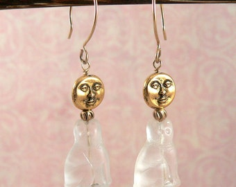 Cat and Moon Earrings, Man in the Moon, Moon Face Earrings, Full Moon Jewelry, Beaded