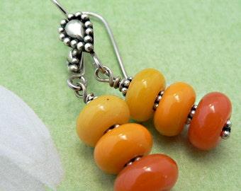 Sunshine Orange Paisley Dangle Earrings, Lampworked Earrings, Yellow Earrings, Beaded Earrings
