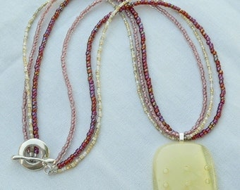 Art Glass and Seedbead Necklace - 'Raspberry Sundae'- art glass pendant, multistrand necklace