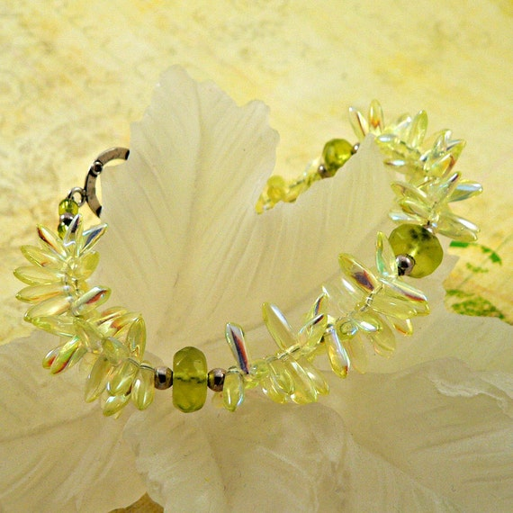 SALE - Dragonfly Wings Yellow and Green Glass Bracelet (no.387) Marked down from 26.00
