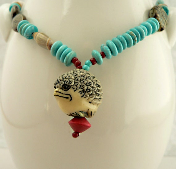 Carved Bird Ojime Mixed Bead and Chain Necklace, Eclectic Necklace, Turquoise necklace (no. 747)