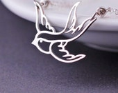 Silver Bird Necklace, Small Flying Bird Necklace, Sterling Silver Swallow Bird Pendant