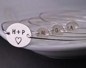 Personalized Mom Bracelet Set, Custom Sterling Silver Family Bangle Bracelets Set
