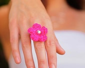 Hot Pink Ring, Flower Ring, Chunky Ring, Large Flower Sterling Silver Ring Crochet