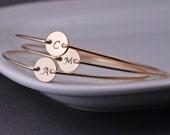 Personalized Bridesmaid Jewelry, TEN, Custom Initial Bracelet, Hand Stamped Bridesmaid Bracelets, Bridesmaid Initial Charm Jewelry