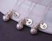 Bridesmaid Necklace, THREE, Pearl Bridesmaid Jewelry, Personalized Bridesmaid Necklace Gift