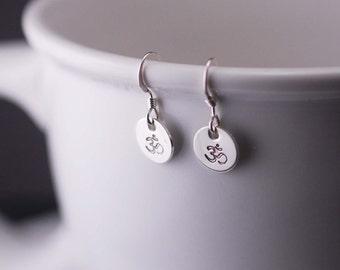 Yoga Earrings, Om Jewelry Short Earrings, Simple Earrings, Sterling Silver Om Jewelry