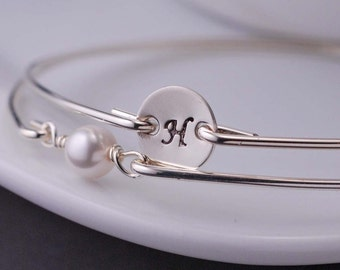 Personalized Bracelet Set, 2 Stackable Bangles, Sterling Silver Custom Bangle Bracelet