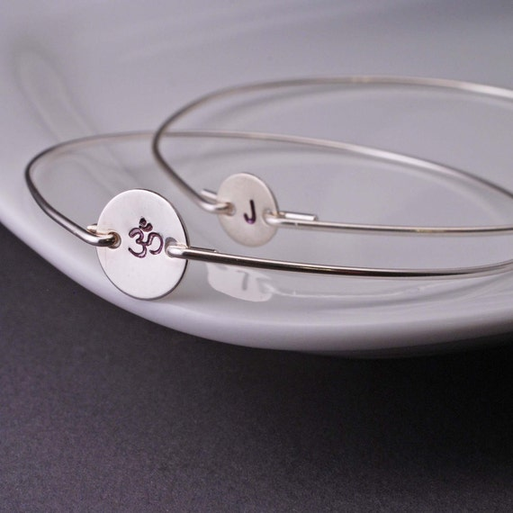 Sterling Silver Om Custom Initial Bangle Bracelets