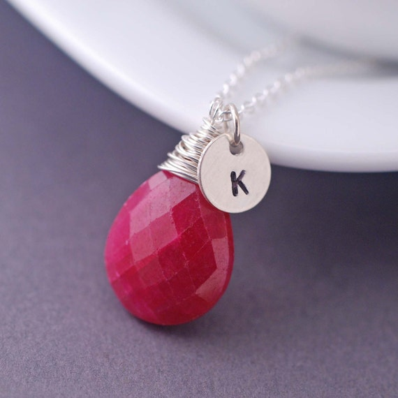 Personalized Necklace, Ruby Jewelry, Personalized Jewelry Gift, Initial Necklace, Red Jewelry, Ruby Necklace,  Red Gemstone Necklace,