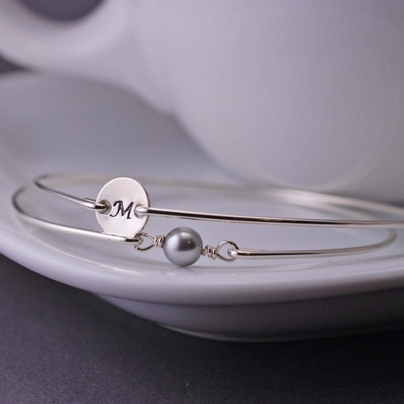 Initial Charm Bracelet and Grey Pearl Bracelet Set, Custom Sterling Silver Bangle Bracelet, Personalized Bracelet, Modern Bangle Bracelet