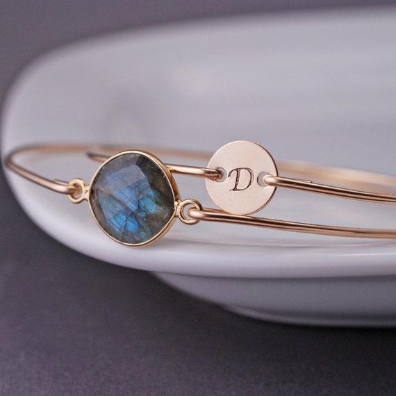 Personalized Bracelet, Gold Labradorite Bracelet, Initial Jewelry, Gold Bangle Bracelet Set