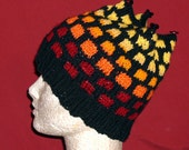 Fire Brick Knit Hat in Red, Gold, Yellow and Black