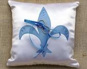 Meet Me In Saint Louis Fleur de Lis Satin Ringbearer Pillow