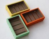 Retro Painted Apple Boxes - Trio of miniature boxes