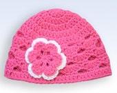 Crochet Baby Hat, kids hat, crochet flower hat, hat for girls, newborn hat, Kid 4-10