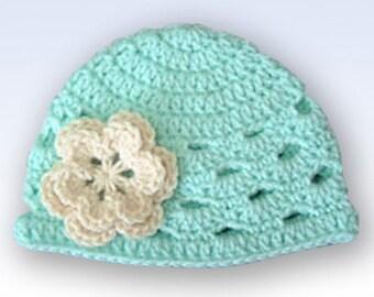 Baby Girl Hat, Ready to Ship, Newborn Hat, Crochet Baby Hat, Baby Girl, Baby Newborn Hat, Newborn Prop, Newborn Baby Hat, Green, Baby Hat