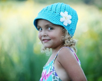 Crochet Baby Hat, Baby Girl Hat, Newsboy Hat, Baby Newborn Hat, Baby Girl, Turquoise, Newborn Hat, Newborn Baby Hat, Crochet Hat