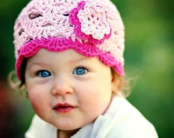 Toddler Hat, Baby Girl Hat, Baby Newborn Hat, Newborn Prop, Crochet Newborn Hat, Light Pink Dark Pink, Crochet Baby Hat, Baby Girl, Girl Hat