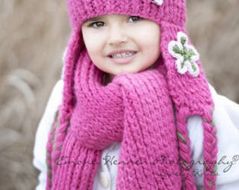 NEW Kid 2-4T Earflap Beanie and Scarf Set With Flower - dark pink, pastel pink, green
