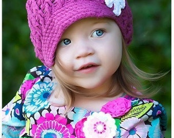 Knit Flower Toddler Hat in Rose with White Flower - Knit Toddler Hat - Knit Girls Hat