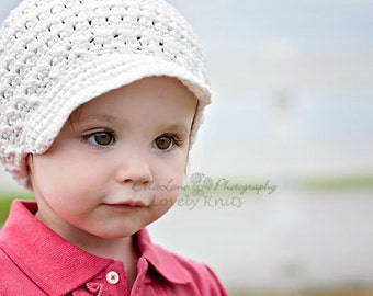 Baby Girl Hat, Newborn Hat, Newsboy Hat, Crochet Baby Hat, Newborn Prop, Girl Newsboy Hat, Baby Girl, Off White