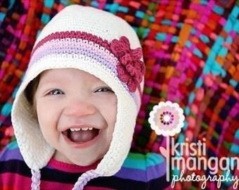 Crochet Baby Hat, Baby Girl, Ear Flap Hat, Baby Girl Hat, Newborn Photo Prop, Girl Ear Flap Hat, Newborn Baby Hat, White Purple Pink Rose