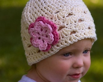 Crochet Flower Toddler Hat in Off White with Pink Flower - Crochet Toddler Hat - Crochet Girls Hat