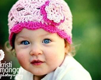 Crochet Toddler Hat, Pastel Pink Hat for Girls, Crochet Hat with Flower, Toddler Flower Hat, 1T to 2T