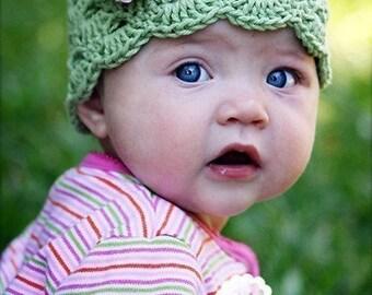 Baby Girl Hat, Baby Hat, Newborn Hat, Crochet Hat, Infant Green Hat, Newborn Girl Clothes Clothing Photo Prop Flower Cap Hat