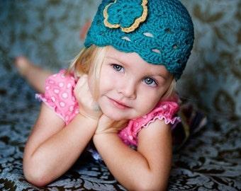 Baby Girl Hat, Baby Hat, Newborn Hat, Crochet Hat, Infant Teal Newsboy Hat, Newborn Girl Clothes Clothing Photo Prop Flower Cap Hat