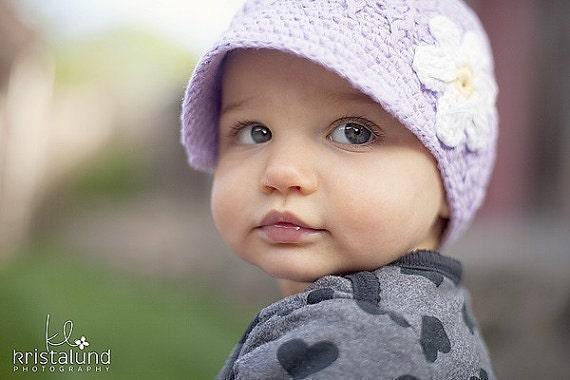Crochet Baby Hat, Baby Girl Hat, Newsboy Hat, Newborn Hat, Newborn Prop, Baby Newborn Hat, Newborn Baby Hat, Lavender White
