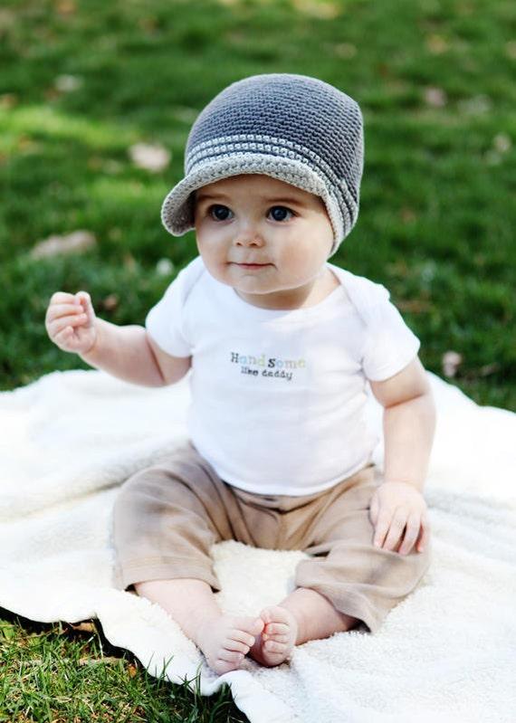 Baby Boy Hats Newborn Hats, Baby Hats Photo Prop, Infant Hats, Baby Crochet Hat, Baby Boy Crochet Hats, Baby Boy Visor Hats, 6-12 Month