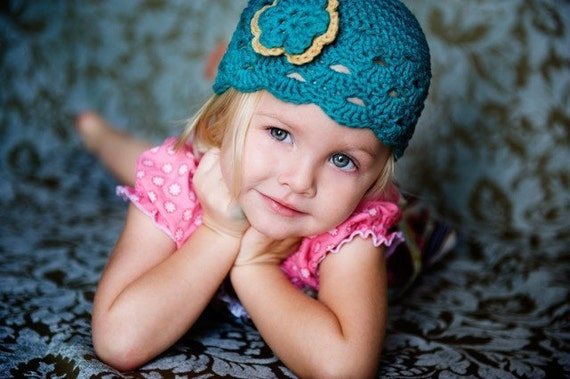 Baby Girl Hat, Baby Hat, Newborn Hat, Crochet Hat, Infant Teal Newsboy Hat, Newborn Girl Clothes Clothing Photo Prop Flower Cap Hat